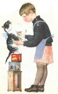 Стала девочка учить котенка говорить